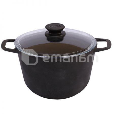 Cast iron Boiler (Stockpot) with glass with lid Biol 0204C 4 L Ukraine